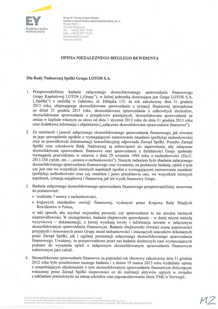 Opinia dla Grupy Kapitałowej LOTOS str. 1