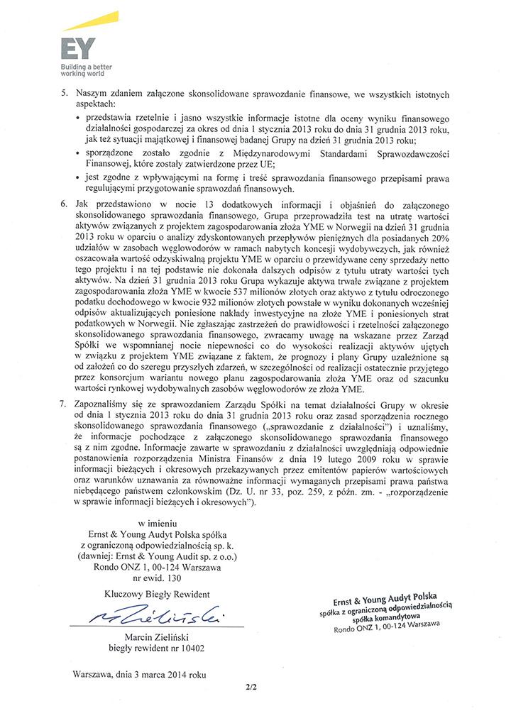 Opinia dla Grupy Kapitałowej LOTOS str. 2